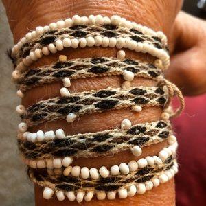 Chan Luu Navajo white Brown Wrap Bracelet